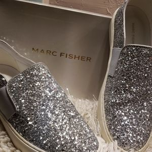 MARC FISHER 9.5 M Silver glitter slip on shoes